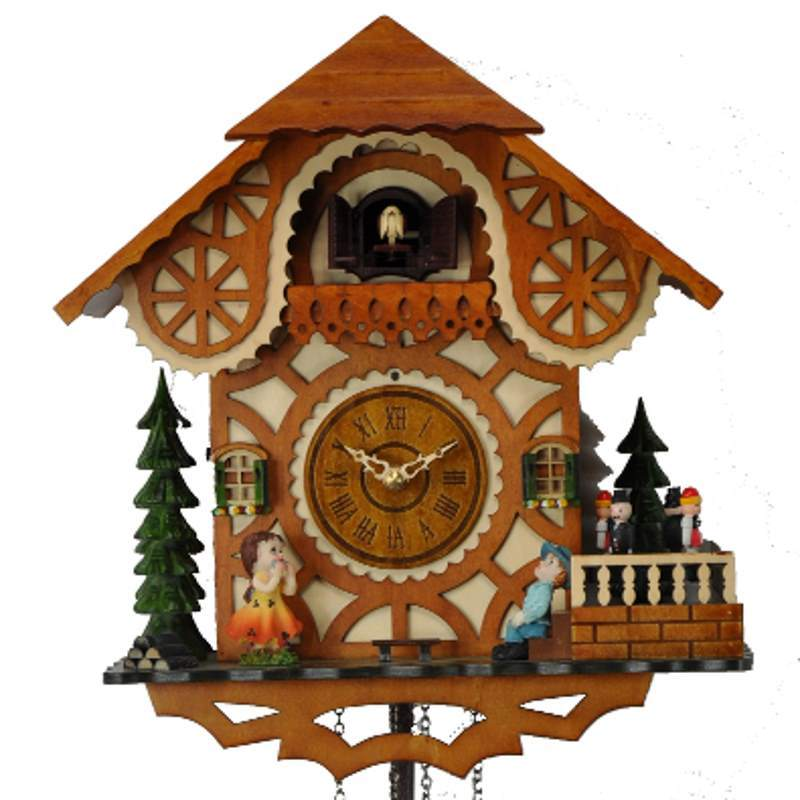 Cambridge Aldo Musical Dancers Wooden Pendulum Cuckoo Clock, 33cm