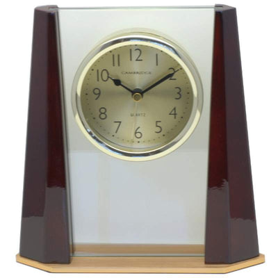 Cambridge Transparent Pyramid Wooden Alarm Clock Cherry 19cm T138 A 1