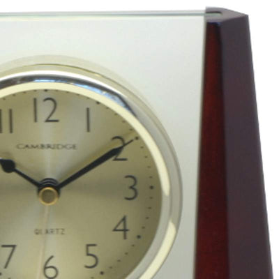 Cambridge Transparent Pyramid Wooden Alarm Clock Cherry 19cm T138 A 2