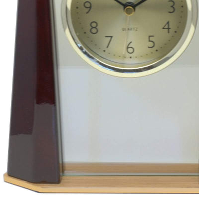Cambridge Transparent Pyramid Wooden Alarm Clock Cherry 19cm T138 A 3