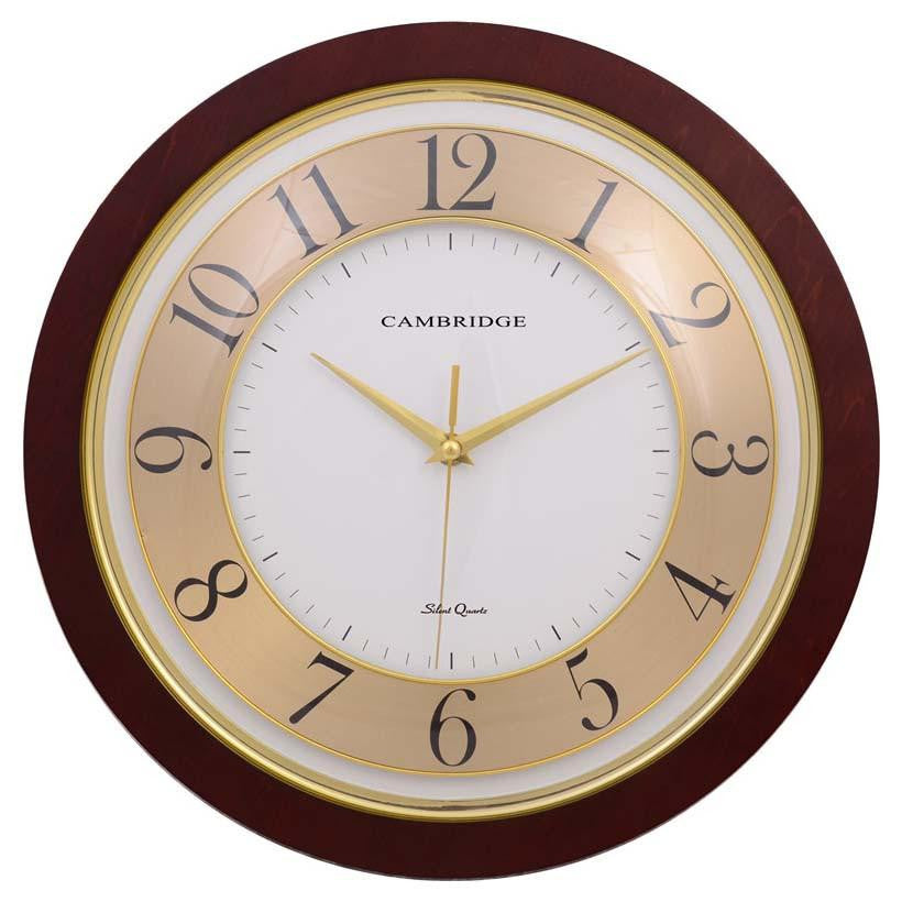 Cambridge Wood Gold Faced Wall Clock 36cm PW815GLD