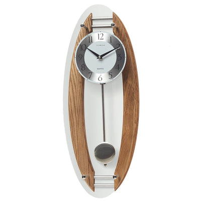 Cambridge Wood and Glass Pendulum Wall Clock Brushed Oak 59cm WW014L 1