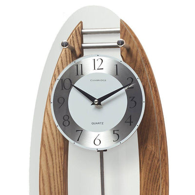 Cambridge Wood and Glass Pendulum Wall Clock Brushed Oak 59cm WW014L 2