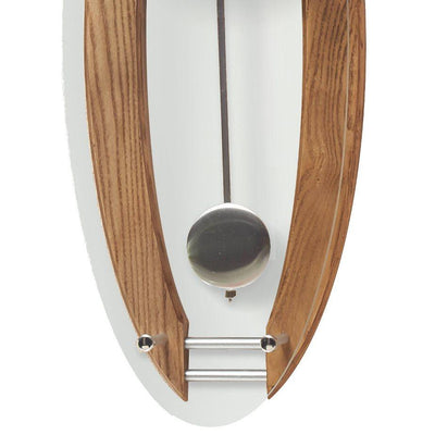 Cambridge Wood and Glass Pendulum Wall Clock Brushed Oak 59cm WW014L 3