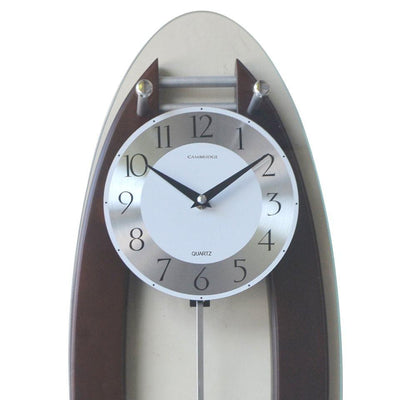 Cambridge Wood and Glass Pendulum Wall Clock Walnut 59cm WW014D 2
