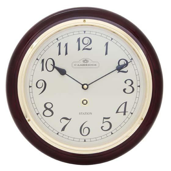Cambridge Wooden Station Wall Clock, Arabic, Gloss, Dark Brown, 32cm