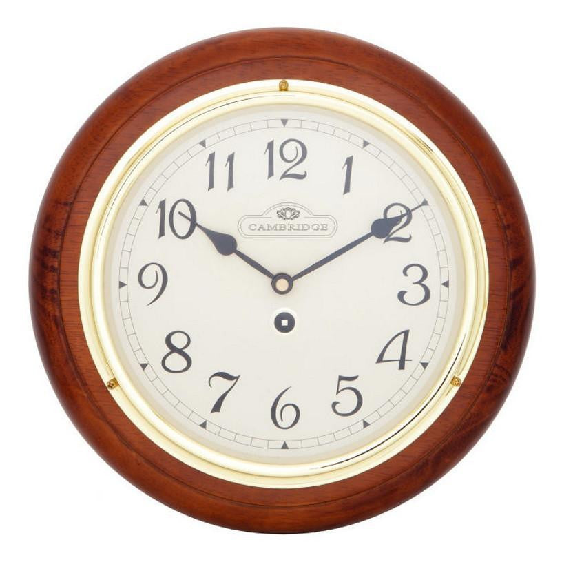 Cambridge Wooden Station Wall Clock, Arabic, Matte, Dark Brown, 29cm