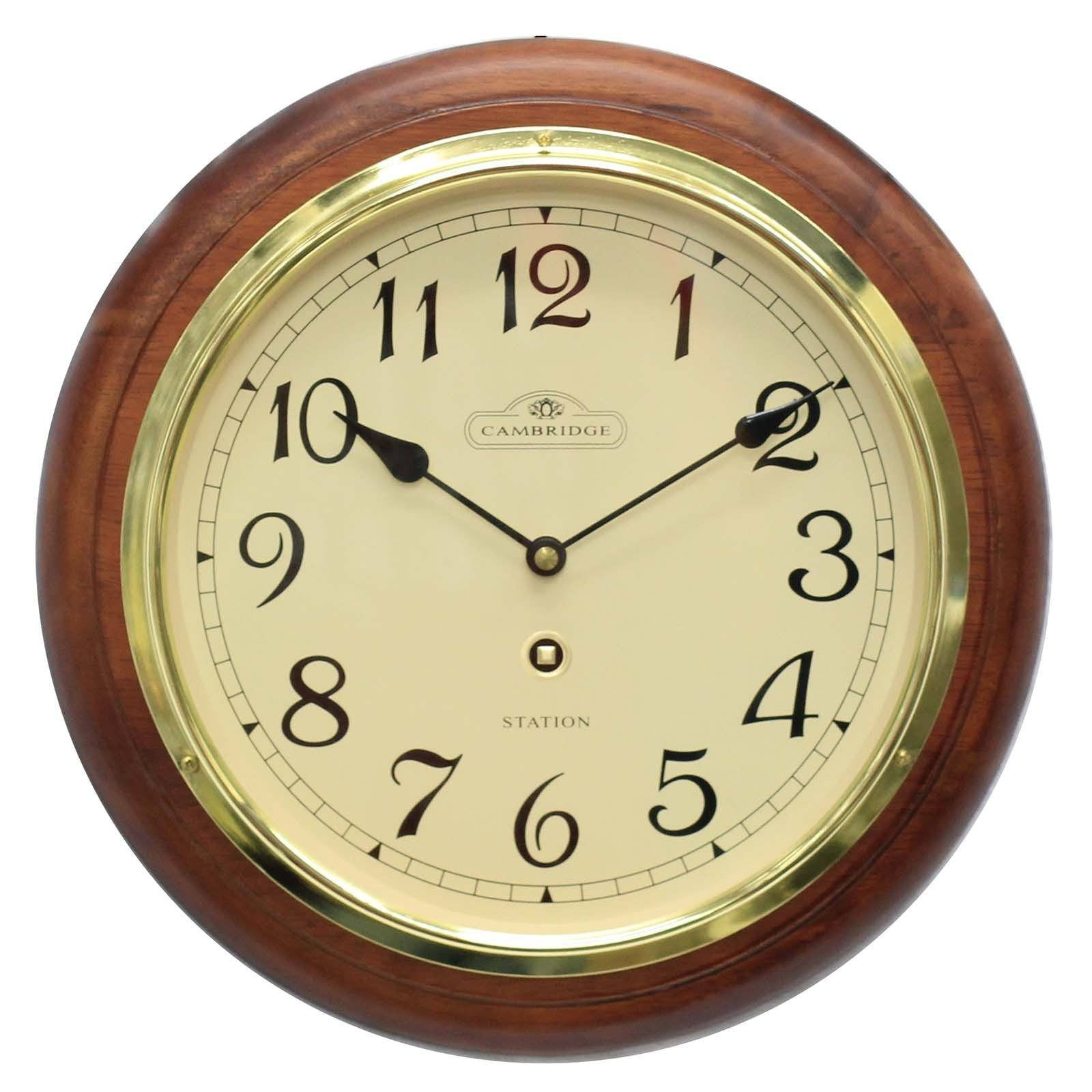 Cambridge Wooden Station Wall Clock, Arabic, Matt, Dark Brown, 32cm