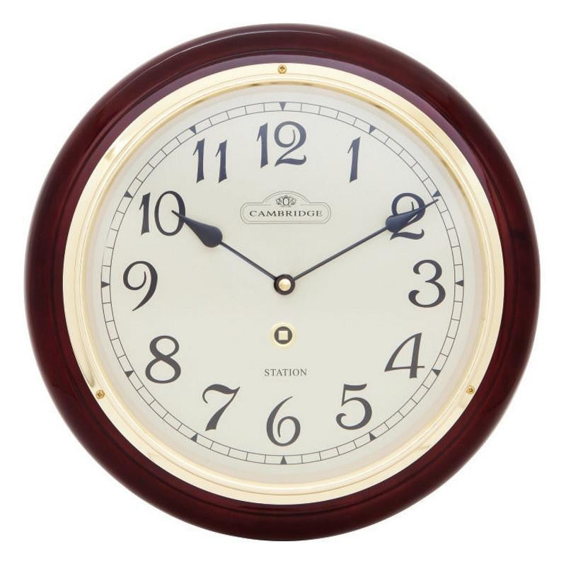 Cambridge Wooden Station Wall Clock Arabic Piano Dark Brown 29cm PW970-37A