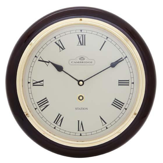 Cambridge Wooden Station Wall Clock, Roman, Gloss, Dark Brown, 32cm