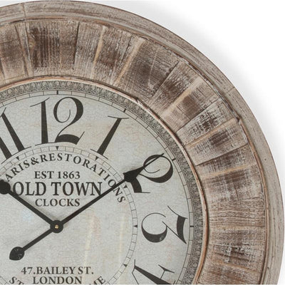 Casa Uno Large Wooden Wall Clock 78cm ME96 Top
