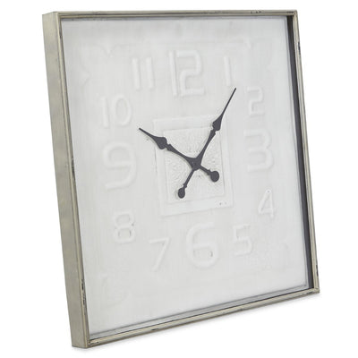 Casa Uno Square Contemporary Metal Wall Clock Antique Cream 80cm NW11 2