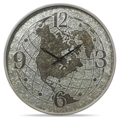 Casa Uno World Globe Metal Wall Clock Silver 80cm NW03 1