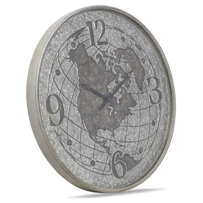 Casa Uno World Globe Metal Wall Clock Silver 80cm NW03 2
