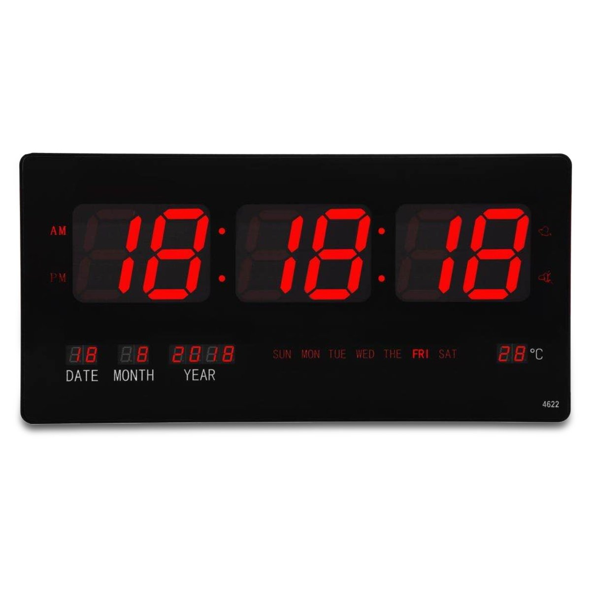 Checkmate Barnet Mains Powered LED Calendar Temp Wall Clock 45cm CTL-4622 1