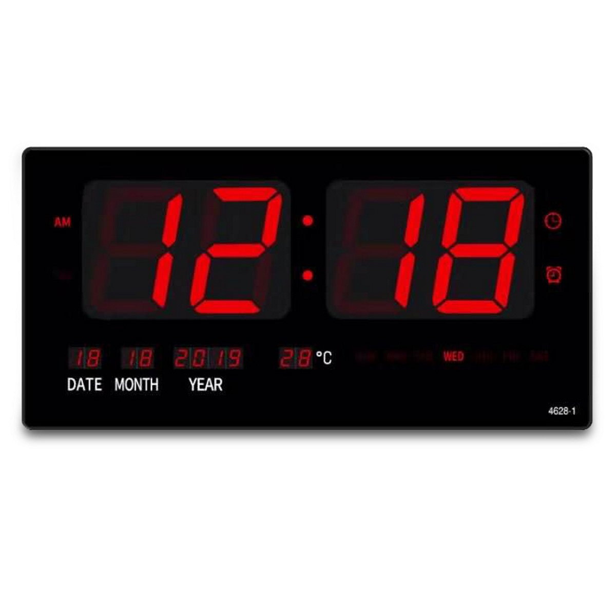 Checkmate Belton Mains Powered LED Calendar Temp Wall Clock 46cm CTL-4628 1