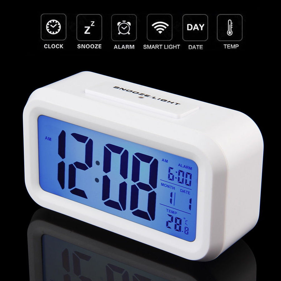 Checkmate Chapman Multifunction Digital Alarm Clock, White, 14cm