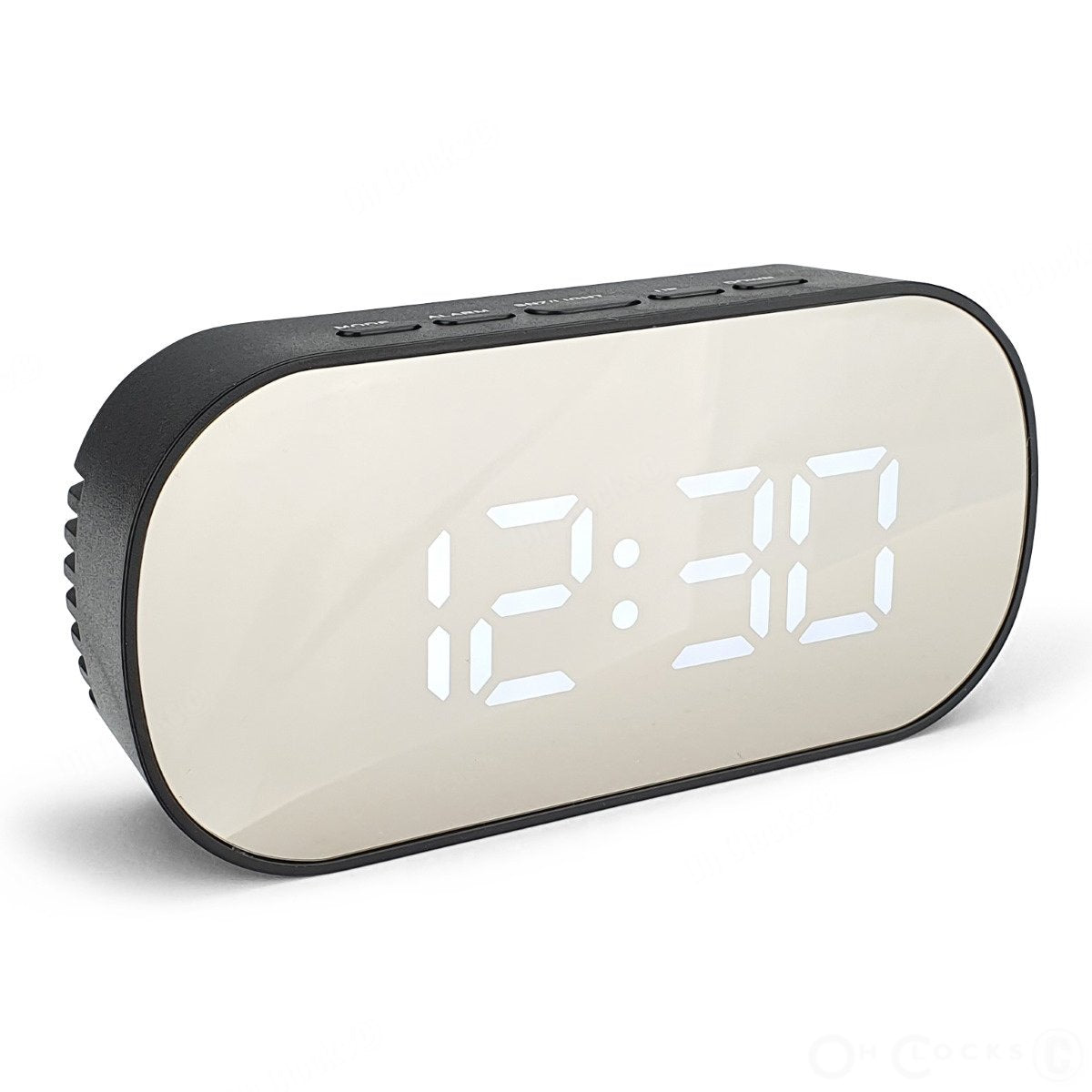 Checkmate Hudson Mirrored Face LCD Alarm Clock Black 13cm VGW 6506 BLA 1