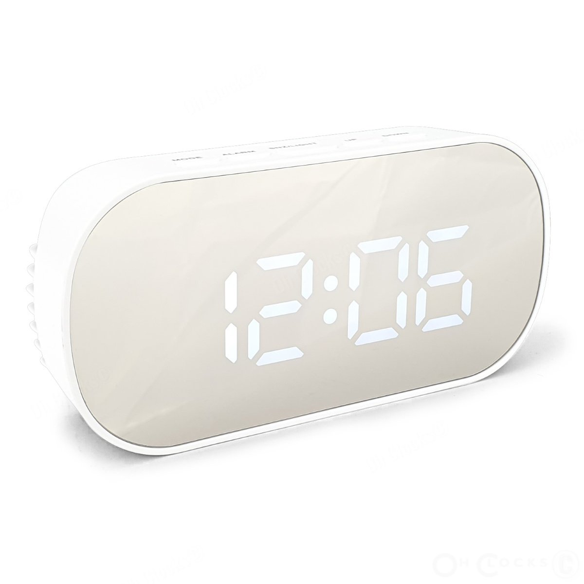 Checkmate Hudson Mirrored Face LCD Alarm Clock White 13cm VGW 6506 WHI 1