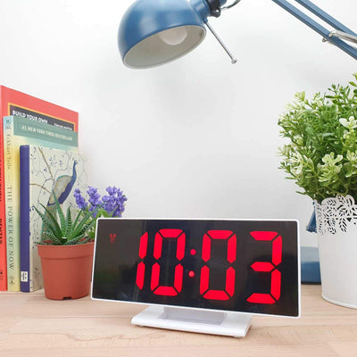 Checkmate Hunter Mirrored Face LCD Alarm Clock Red 19cm VGW 3618 RED 2