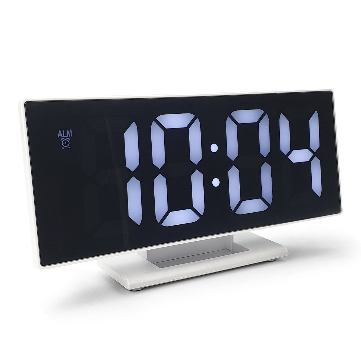 Checkmate Hunter Mirrored Face LCD Alarm Clock White 19cm VGW 3618 WHI 1