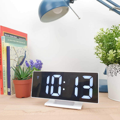 Checkmate Hunter Mirrored Face LCD Alarm Clock White 19cm VGW 3618 WHI 2