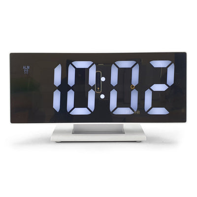 Checkmate Hunter Mirrored Face LCD Alarm Clock White 19cm VGW 3618 WHI 4