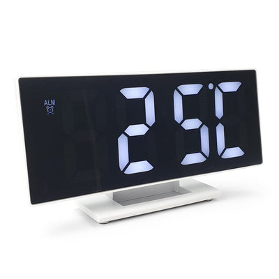 Checkmate Hunter Mirrored Face LCD Alarm Clock White 19cm VGW 3618 WHI 7