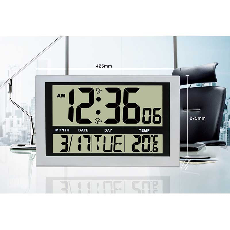 Checkmate Lex Jumbo LCD Calendar Temperature Wall & Desk Clock, 43cm