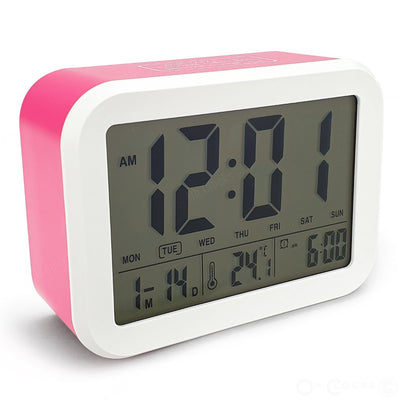 Checkmate Palmer Multifunction LCD Talking Alarm Clock Pink 12cm VGW 9200 PIN 1
