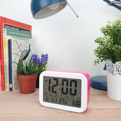 Checkmate Palmer Multifunction LCD Talking Alarm Clock Pink 12cm VGW 9200 PIN 2