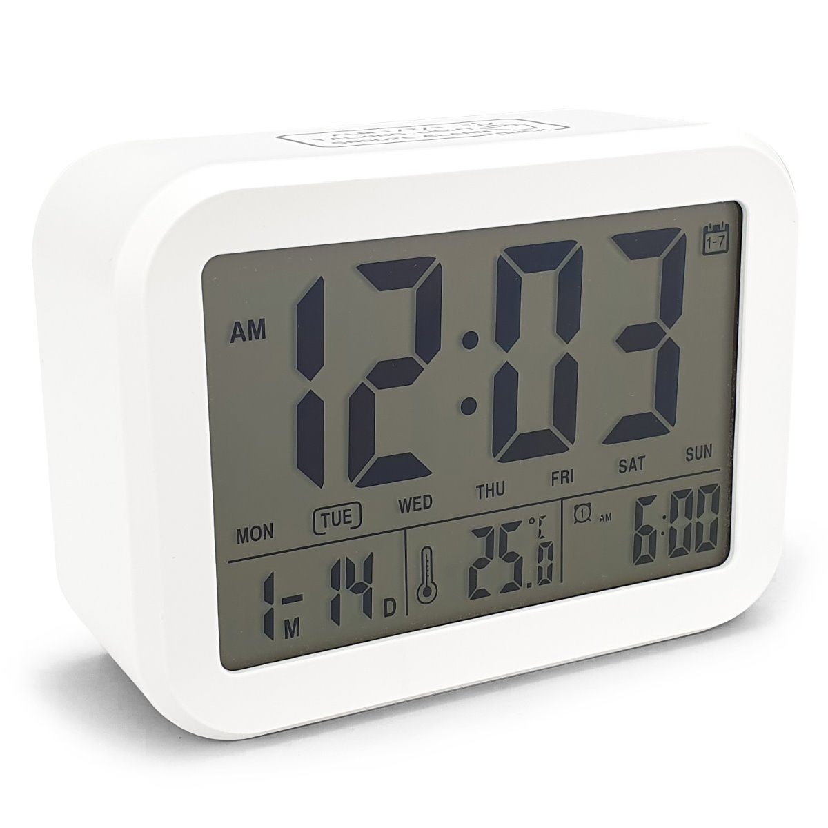 Checkmate Palmer Multifunction LCD Talking Alarm Clock White 12cm VGW 9200 WHI 1