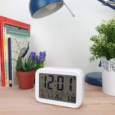 Checkmate Palmer Multifunction LCD Talking Alarm Clock White 12cm VGW 9200 WHI 2