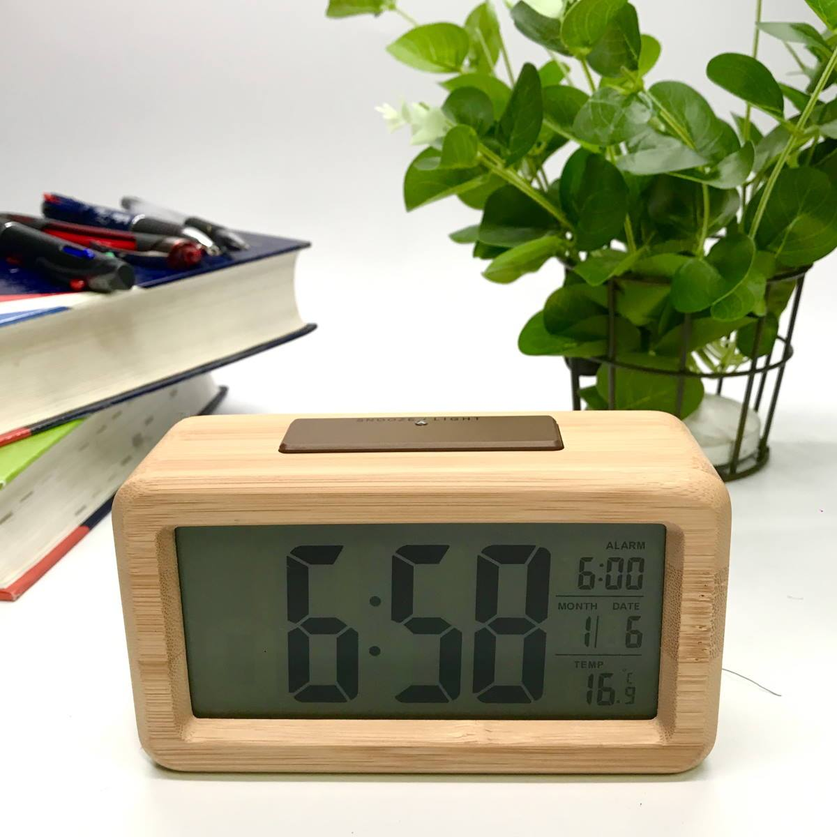 Checkmate Timber Multifunction Digital Alarm Clock Light Brown 14cm VGW-1902-LIGHT 1