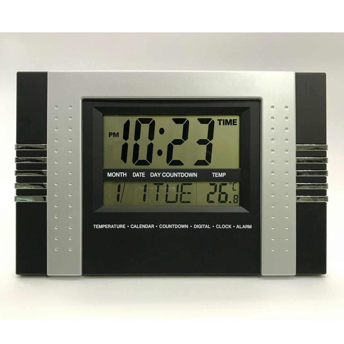 Checkmate Rayla Multifunction Digital Wall & Desk Clock, Black, 29cm