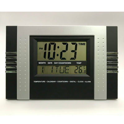 Checkmate Reema Multifunction Digital Wall and Desk Clock Black 29cm VGW 602Black Front