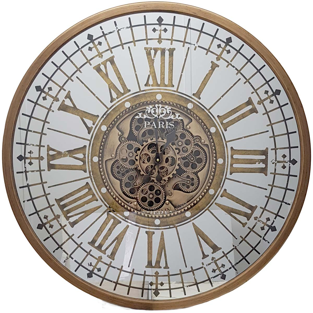 Chilli Decor Aceline Paris Mirrored Gold Metal Moving Gears Wall Clock 80cm TQ-Y674 1