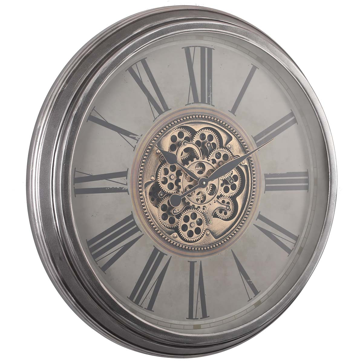 Chilli Decor Adriene Provincial Silver Washed Metal Moving Gears Wall Clock 83cm TQ-Y691 1