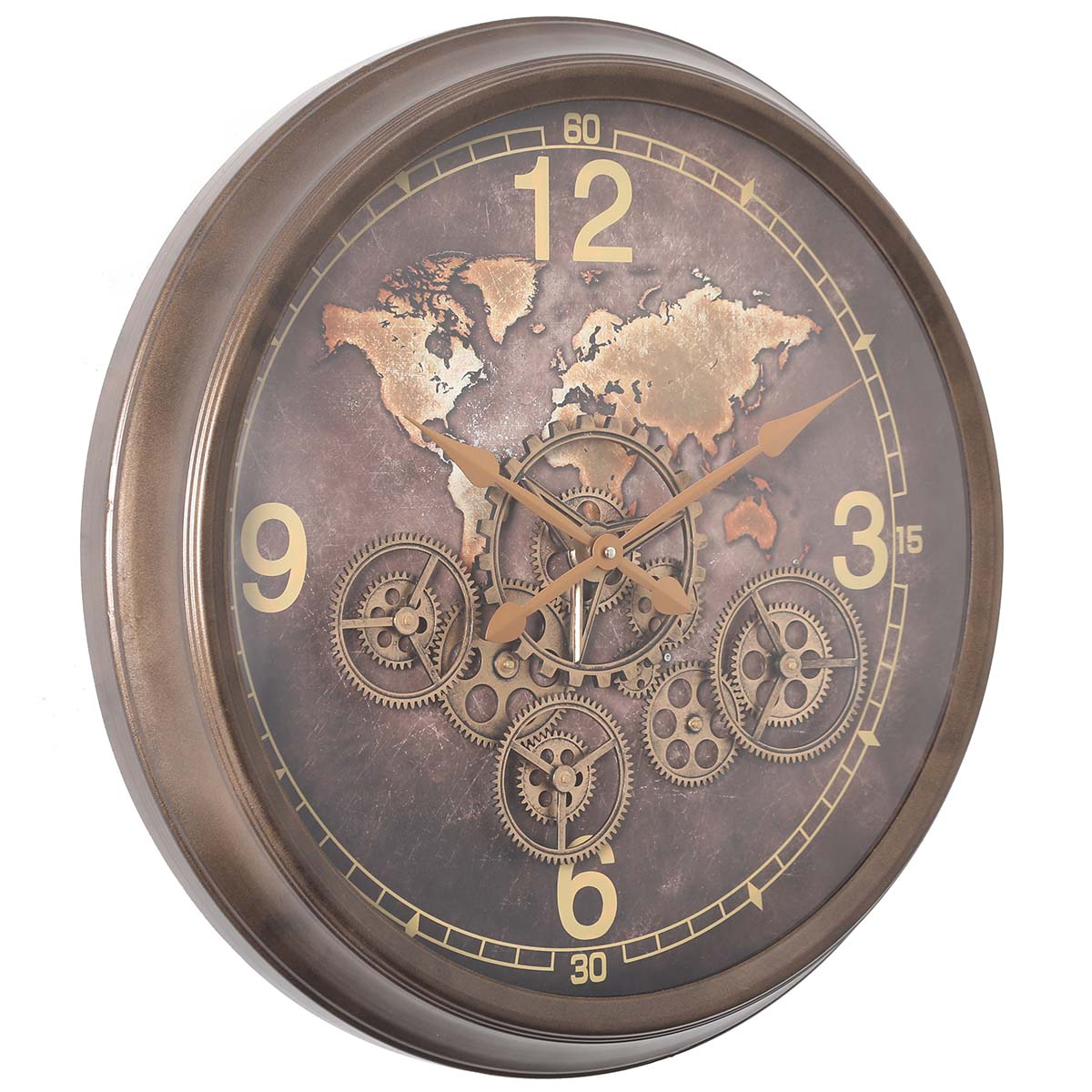 Chilli Decor Cadence The World Bronze Metal Moving Gears Wall Clock 62cm TQ-Y711 1