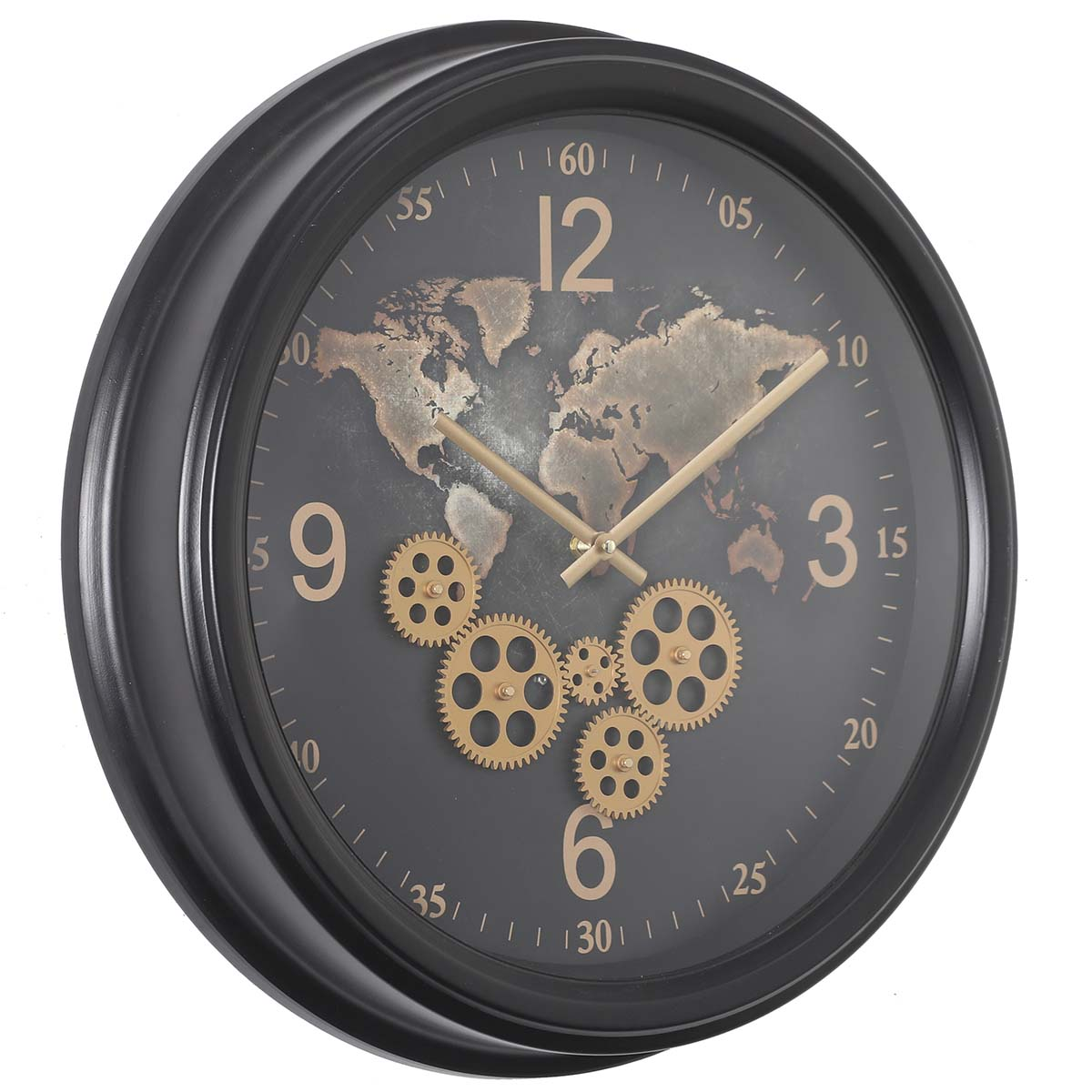 Chilli Decor Camile The World Black Metal Moving Gears Wall Clock 53cm TQ-Y713 1