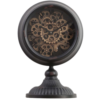 Chilli Decor Champs Elysees Distressed Black Metal Moving Gears Desk Clock 55cm TQ-Y125B 1