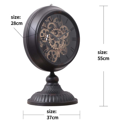Chilli Decor Champs Elysees Distressed Black Metal Moving Gears Desk Clock 55cm TQ-Y125B 2