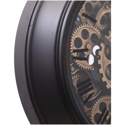 Chilli Decor Champs Elysees Distressed Black Metal Moving Gears Desk Clock 55cm TQ-Y125B 3