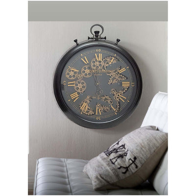 Chilli Decor Champs Elysees FOB Watch Metal Moving Gears Wall Clock Black 62cm TQ-Y636 2