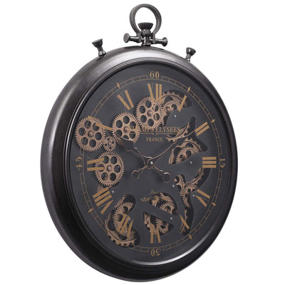 Chilli Decor Champs Elysees FOB Watch Metal Moving Gears Wall Clock Black 62cm TQ-Y636 1