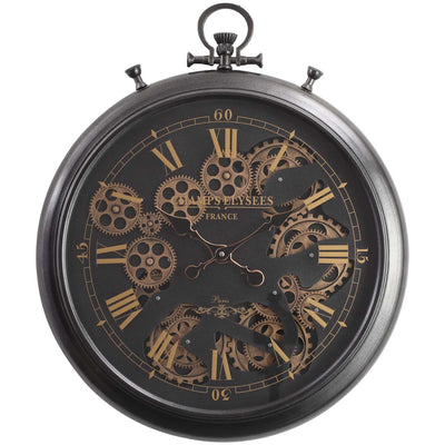 Chilli Decor Champs Elysees FOB Watch Metal Moving Gears Wall Clock Black 62cm TQ-Y636 3