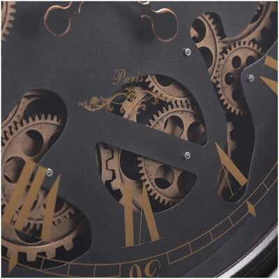 Chilli Decor Champs Elysees FOB Watch Metal Moving Gears Wall Clock Black 62cm TQ-Y636 4