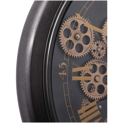 Chilli Decor Champs Elysees FOB Watch Metal Moving Gears Wall Clock Black 62cm TQ-Y636 6