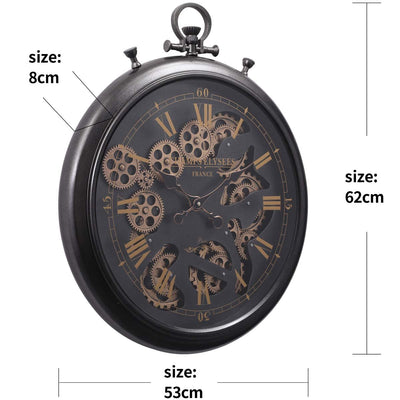 Chilli Decor Champs Elysees FOB Watch Metal Moving Gears Wall Clock Black 62cm TQ-Y636 9
