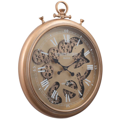 Chilli Decor Champs Elysees FOB Watch Metal Moving Gears Wall Clock Gold 62cm TQ-Y637 1